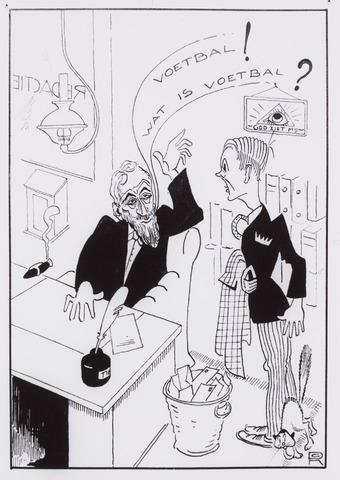 054001 - Sport voetbal Willem II. Kort na de oprichting in 1896 ging Gerard de Ruyter naar de redactie van de Tilburgse Courant met het verzoek om de voetbalsport te promoten. Het antwoord is te vinden op de spotprent.