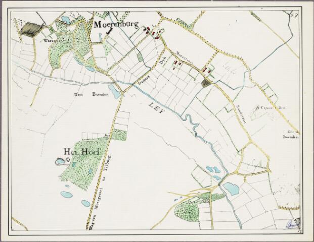krnt_12 - Kaart. Detail van de manuscriptkaart van de heerlijkheid Tilburg en Goirle uit 1760 van de hand van Diederik Zijnen.  Nagetekend door L. Langeweg, ingekleurd door R. Peeters. Moerenburg.