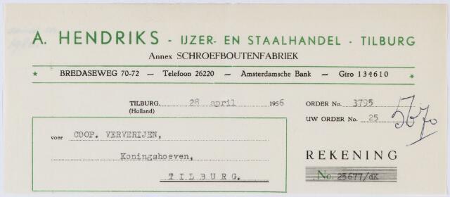 060267 - Briefhoofd. Nota van A. Hendriks, Ijzer- en staalhandel - Tilburg, Bredaseweg 70-72, voor Coöp. Ververijen , Koningshoeven 77