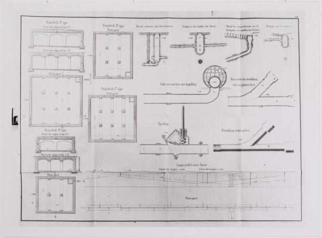 042270 - Tekening. Riolering. Fragment van een ontwerp voor een rioolstelsel gemaakt door ingenieur Havelaar. Deze meende dat de exploitatie van een riolering een taak was van de gemeente