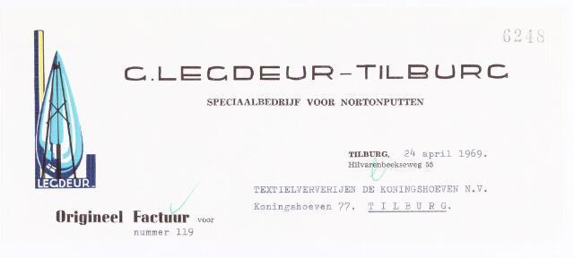 060561 - Briefhoofd. Nota van G. Legdeur.Tilburg, speciaal bedrijf voor Nortonputten, voor Coöperatieve Ververijen, Koninghoeven 77.