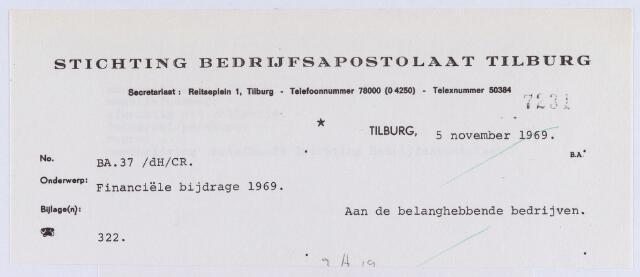 061524 - Briefhoofd. Verenigingen. Briefhoofd van Stichting Bedrijfsapostolaat Tilburg, Reitseplein 1