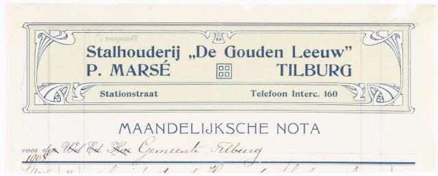 """060669 - Briefhoofd. Nota van Stalhouderij """"De Gouden Leeuw"""" P.Marsé, Stationstraat voor de gemeente Tilburg"""