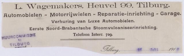 061392 - Briefhoofd. Briefhoofd van L. Wagemakers, Automobielen- Motorrijwielen- Reparatie- inrichting- Garage, Heuvel 99