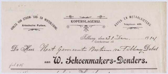 061042 - Briefhoofd. Nota van W. Schoenmakers - Donders, koperslagerij, Goirkestraat 18 voor de gemeente Tilburg