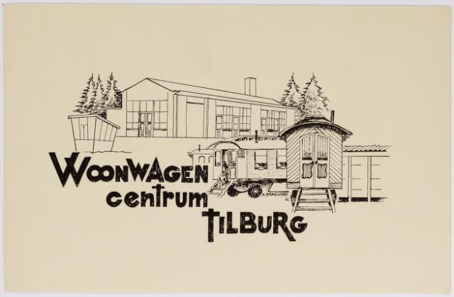 042549 - Tekening. Woonwagencentrum Tilburg. Omslag brochure van de Stichting Katholiek Woonwagenwerk Tilburg