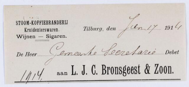 059774 - Briefhoofd. Briefhoofd van Firma L.J.C. Bronsgeest & Zoon, Heuvelstraat 69, Stoom- Koffiebranderij