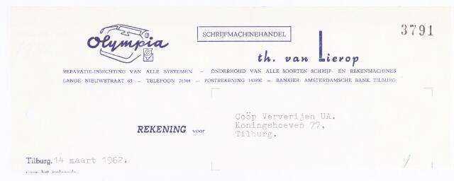060581 - Briefhoofd. Nota van th. van Lierop, schijfmachinahandel Olympia, Lange Nieuwstraat 65, voor Coöp. Ververijen UA, Koningshoeven 77.