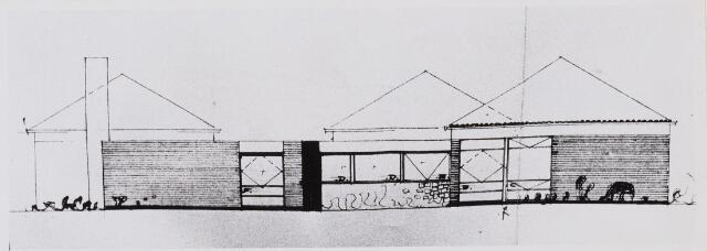 100781 - Tekening. Onderwijs. Nieuwbouw kleuterschool.