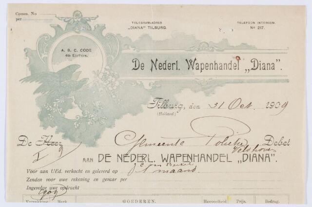 """059908 - Briefhoofd. Nota van De Nederl. Wapenhandel """"Diana"""",voor Gemeente Politie te Tilburg"""