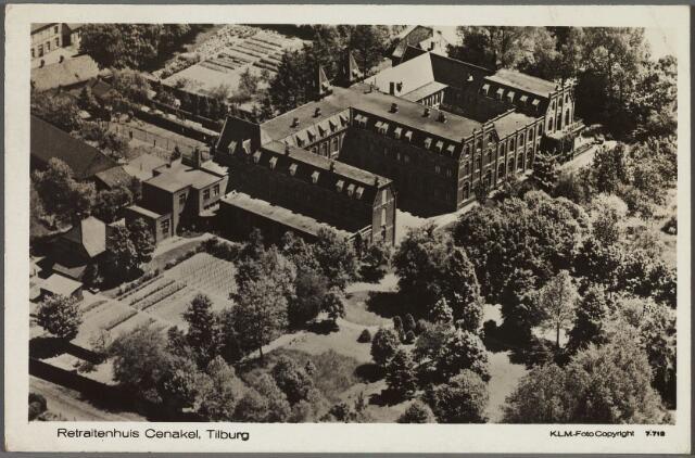 010438 - Achterzijde, tuin en park van het retraitehuis en klooster van O.L.V. van het Cenakel aan de Koningshoeven, thans Kempenbaan.