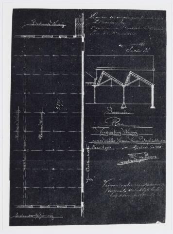 037514 - Textiel. Blauwdruk uit 1901 van de nieuwe weverij van Beka in de voormalige Lancierskazerne. Rechtsboven de voor een fabrieksgebouw karakteristieke shed-daken