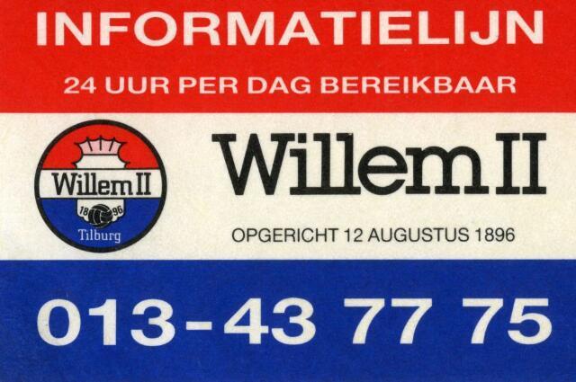 071440 - Voetbal. Sticker Willem II.