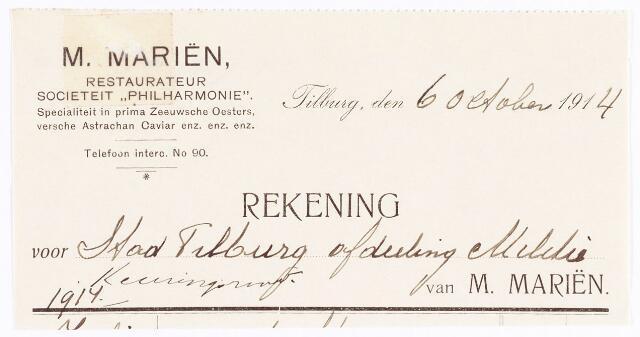 """060654 - Briefhoofd. Nota van M. Mariën, restaurateur societeit """"Philharmonie"""" voor de gemeente Tilburg"""