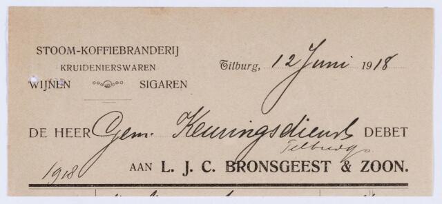 059775 - Briefhoofd. Briefhoofd van Firma L.J.C. Bronsgeest & Zoon, Heuvelstraat 69, Stoom- Koffiebranderij
