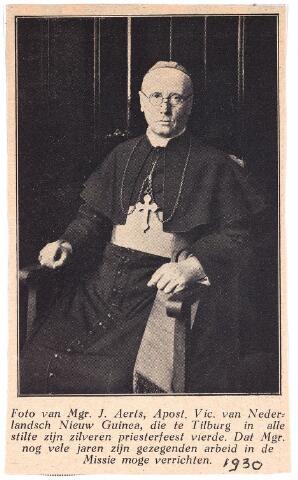 003396 - Mgr. J. Aerts, Apost. Vic. van Nederlandsch Nieuw Guinea, die te Tilburg in alle stilte  zijn zilveren priesterfeest vierde. Dat Mgr. nog vele jaren zijn gezegenden arbeid in de missie moge verrichten.
