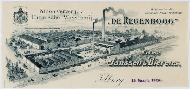 """060372 - Briefhoofd. Briefhoofd van Firma Janssen & Bierens Stoomververij en Chemische Wasserij """" De Regenboog"""","""