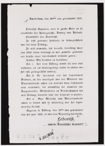 103337 - Stadsrechten. Besluit van Lodewijk Napoleon van 24 april 1809 om het dorp Tilburg tot stad te verheffen. Gefotografeerd voor publicatie in Katholieke Illustratie d.d. 4 juli 1934.