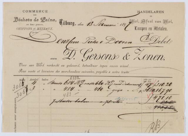 060132 - Briefhoofd. Nota van D. Gersons & Zonen, Handelaren in wol, afval van wol, lompen en metalen, voor Pieter van Dooren te Tilburg