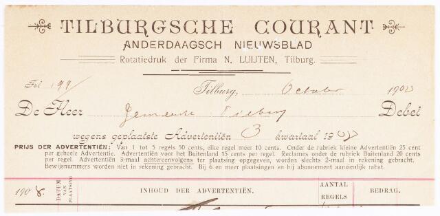 060617 - Briefhoofd. Nota van Tilburgsche courant , anderdaagsch nieuwsblad, rotatiedruk der Firma N. Luijten voor de gemeente Tilburg