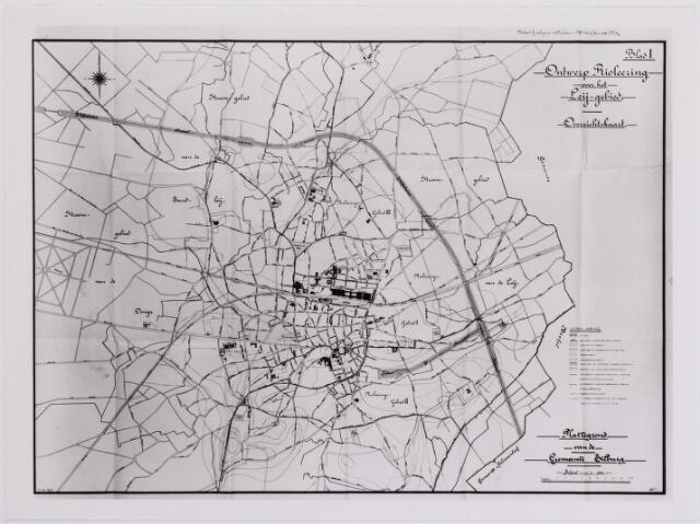 042255 - Kaart. Riolering. Overzichtskaart van de riolering voor het Leij-gebied in 1919