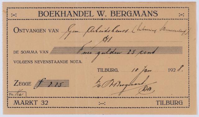 059590 - Briefhoofd. Nota van W. Bergmans - Tilburg, Boek- en Muziekhandel, Markt 32, voor gemeente Arbeidsbeurs