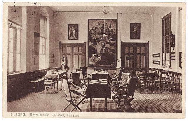 001434 - Leeszaal van de retraitanten in het retraitehuis en klooster van O.L.V.. van het Cenakel aan de Koningshoeven, thans Kempenbaan.