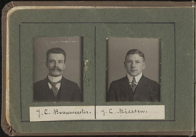 603956 - Links de heer J. C. Bouwmeester, rechts J.L. Miessen.  Albumblad met zogenaamde TipTop-pasfoto´s van het personeel van de gemeentesecretarie van Tilburg, omstreeks 1916.