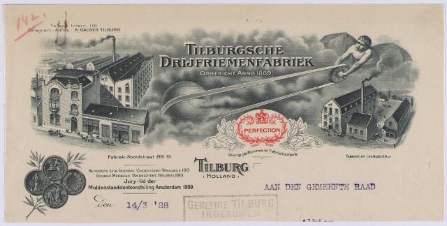061231 - Briefhoofd. Briefhoofd van Tilburgsche Drijfriemenfabriek, Noordstraat 89-91
