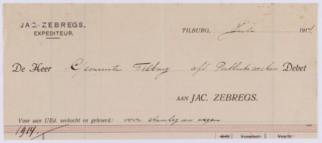 061458 - Briefhoofd. Nota van Jac. Zebregs, expediteur voor de gemeente Tilburg