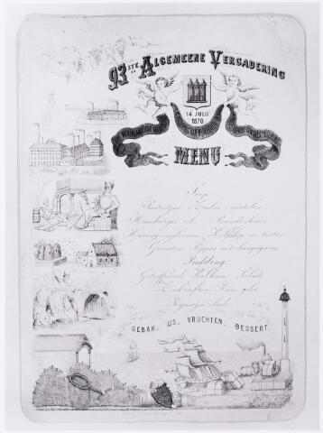 053038 - Menu van een diner b.g.v. de 93e  Algemene vergadering ( Handel, Industrie, landbouw, imkers, visserij en molenaars van Tilburg) gedrukt als litho door J.A. Baest, Haringseind Tilburg.