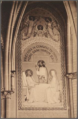 010875 - muurschildering, sterfbed van St. Jozef, in de kapel van het missiehuis van de paters missionarissen van het H. Hart aan de Bredaseweg.