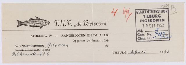 """061514 - Briefhoofd. Verenigingen. Briefhoofd van T.H.V. """"de Rietvoorn""""Pelikaanstraat 6"""