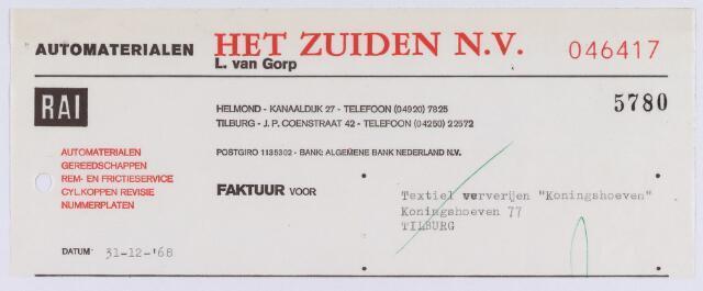 """061463 - Briefhoofd. Nota van Automaterialen Het Zuiden N.V. ( L. van Gorp) J.P. Coenstraat 42 voor Textiel ververijen """"Koningshoeven"""", Koningshoeven 77"""