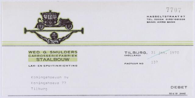 061141 - Briefhoofd. Nota van Wed. G. Smulders, carrosseriefabriek, staalbouw, Hasseltstraat 95-97 voor de Koningshoeven N.V., Koningshoeve 77 te Tilburg
