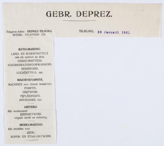 059904 - Briefhoofd. Briefhoofd van Gebrs. Deprez, Tilburgsche Stoomketel- en Machinefabriek