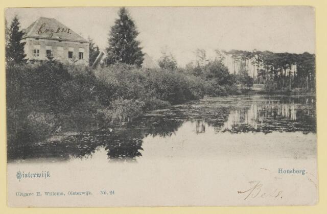 073936 - Hondsberselaan met Huize 'De Hondsberg'  een oude buitenplaats, met waterpartijen, bruggetje, kiosk, pension, restaurant, hotel en opvangtehuis voor slechtziende kinderen o.l.v. dr. Aussems.