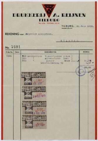 060961 - Briefhoofd. Nota van Drukkerij A. Reijnen Tilburg, Hasseltstraat 210 voor Burgerlijk Armbestuur te Tilburg
