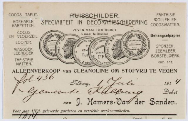 060244 - Briefhoofd. Nota van J. Hamers-van der Sanden, huisschilder,  voor de gemeente Tilburg