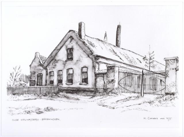 014186 - Tekening. Tekening van H. Corvers uit 1975 van een oude wolwasserij op Broekhoven. Voorheen was in dit complex stoom-, was- en strijkinrichting Het Groenewoud gevestigd