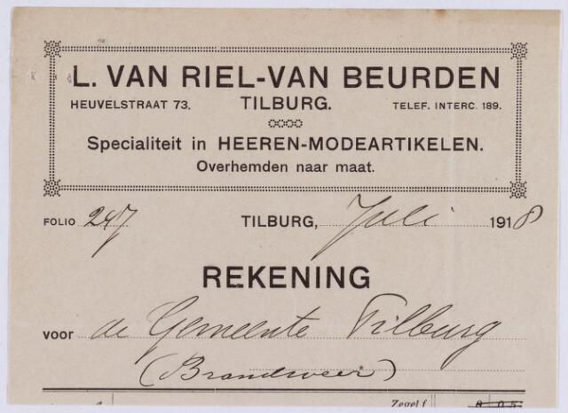 060981 - Briefhoofd. Nota van L. van Riel - van Beurden, Heuvelstraat , herenmodeartikelen voor de gemeente Tilburg