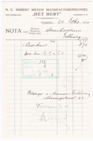 """060689 - Briefhoofd. Nota van Hubert Meelis N.V.,  Manufacturenhandel """"Het Hert"""", Heuvelstraat 82 voor het Armbestuur van Tilburg"""
