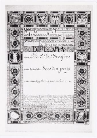 039554 - M.C.N. Bressers Kaarsenfabriek. Noord Brabantse maatschappij van Landbouw afd. Tilburg op tentoonstelling 25-26 september 1909 diploma met 1e prijs voor inzending honing , was en kaarsen. J. Claessen, H. van Roessel, Denis Swagemakers, Alph. Loijens.