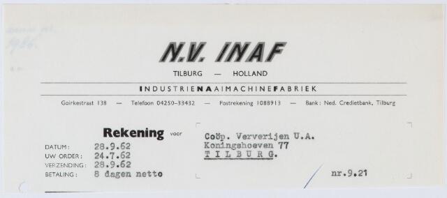 060346 - Briefhoofd. Nota van N.V. Inaf, industrienaaimachienefabriek, Goirkestraat 138, voor Coöp Ververijen U.A., Koningshoeven 77