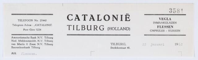 059839 - Briefhoofd. Briefhoofd van Catalonie Tilburg, Vegla inmaakglazen, Flessen, Capsules-Kurken, Stedekestraat 48