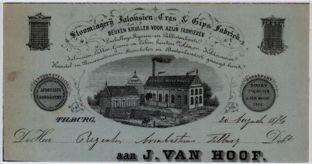 060313 - Briefhoofd. Nota van J. van Hoof, stoomzagerij, jalousien, Gras en gips fabriek voor het Armbestuur van Tilburg