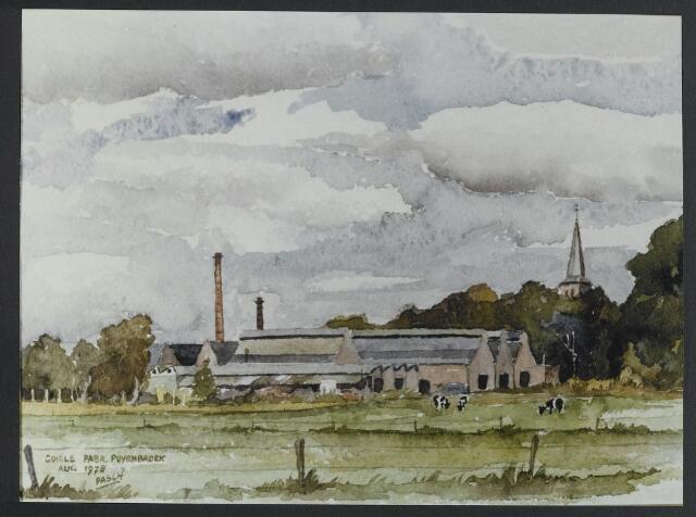 072178 - Aquarel. Achterzijde textielfabriek Van Puijenbroek.