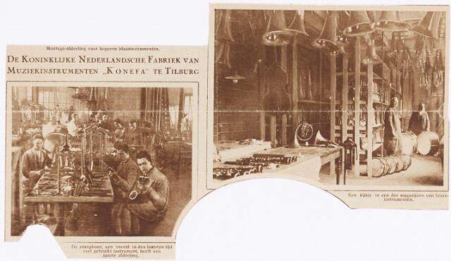 038353 - Krantenknipsel over  Koninklijke Nederlandsche Fabriek van Muziekinstrumenten KONEFA afdeling saxofoons en magazijn blaasinstrumenten