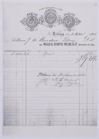 061377 - Briefhoofd. Nota van Paulus & Hendrik Vreede, Lakenfabrikanten voor J de Beer te Tilburg