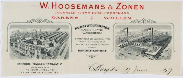 060318 - Briefhoofd. Briefhoofd van W. Hoosemans & Zonen, voorheen firma Ferd. Hoosemans, Garens en wollen, Magazijnstraat 7